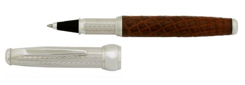 Sterling Silver Rollerball Pen - Via Roma Barleycorn Design and Alligator Skin - Hallmarked Sterling Silver